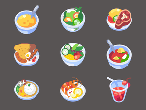 9 Colorful Food Icons Sketch Resource