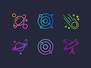 Gradient Space Icons Set