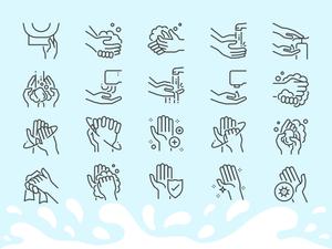 Hand Washing Line Icon Set Sketch Resource