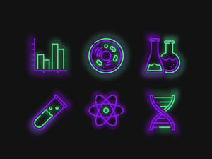 6 Neon Wissenschaft Icons Sketch Ressource