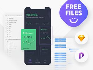 Cryptocurrency App Dashboard – Sketch & Principle App