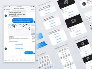Facebook Messenger UI Kit for Chatbots Sketch Resource