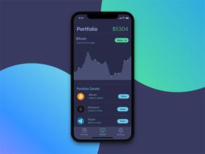 Dark Portfolio Screen for Cryptocurrency App