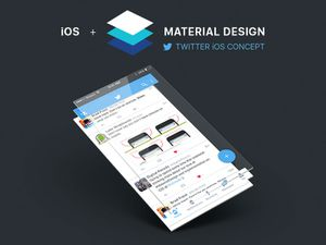 Twitter iOS Material Design Concept Sketch Resource