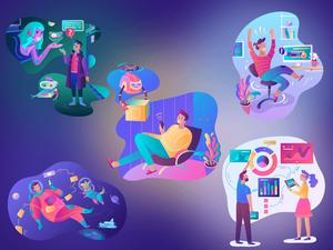 5 Vibrant Illustrations Sketch Resource