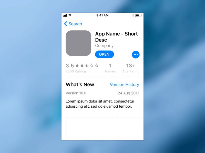 iOS 11 App Store Template