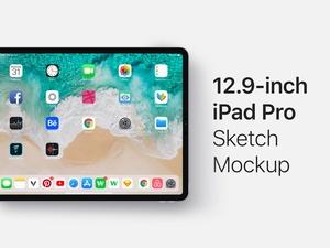 12.9-inch iPad Pro Mockup Sketch