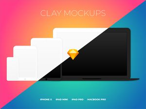 Clay Device Mockups Sketch Resource