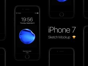 iPhone 7 – Jet Black Sketch Mockup