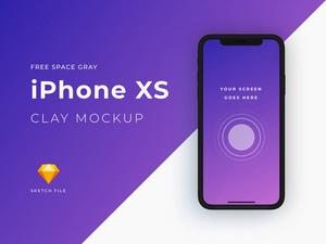 iPhone XSスペースグレーモックアップ粘土