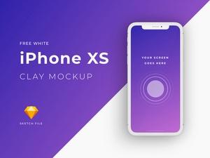 iPhone XSホワイトモックアップクレイ