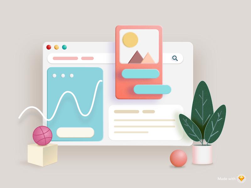 3D Dashboard Illustration Sketch Resource