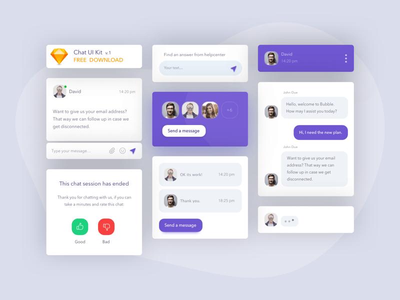 Basic Chat UI Kit Sketch Resource