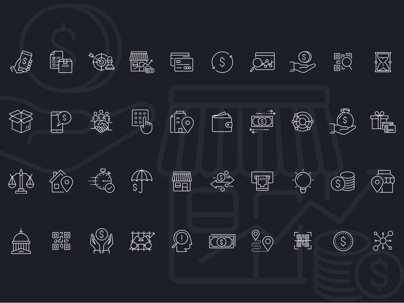 Financial Icon Set Sketch Resource