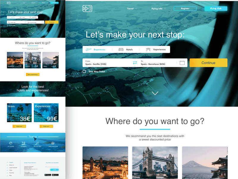 Travel and Flight Booking Landing Page Sketch Resource
