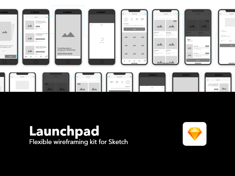 Launchpad Wireframing Kit Sketch Resource