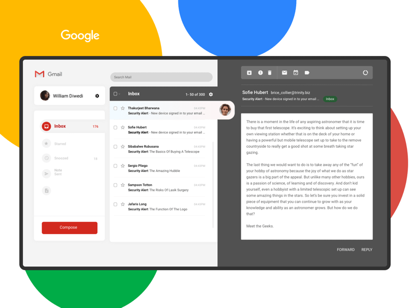 Simpler Gmail Concept Sketch Resource