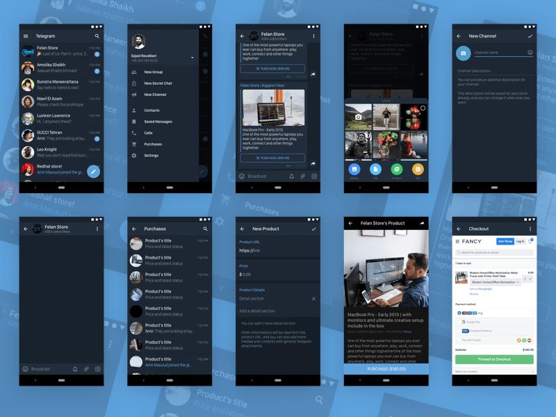 Telegram Messenger for Android in Dark Mode Sketch Resource
