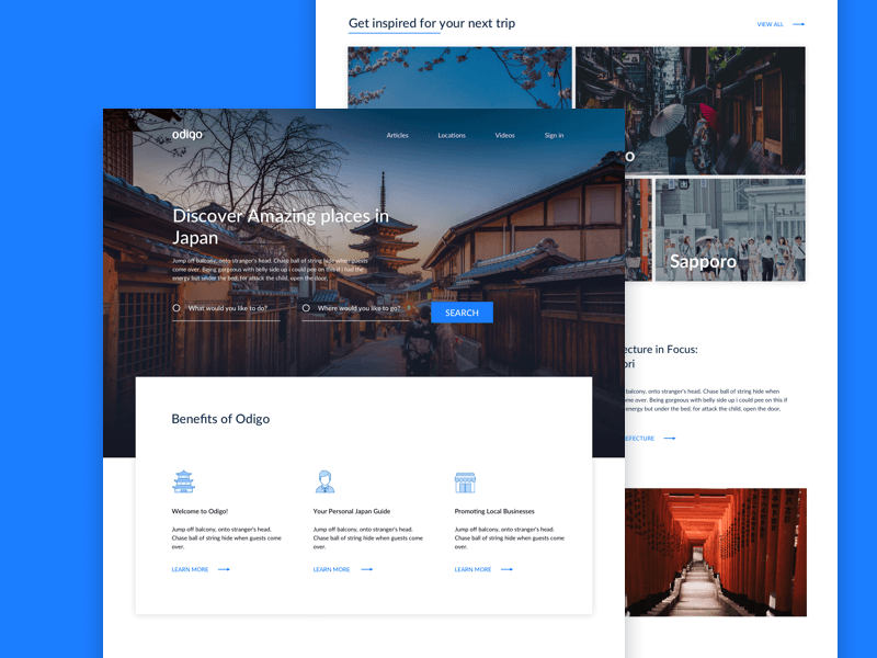 Travel Landing Page Concept Sketch Resource