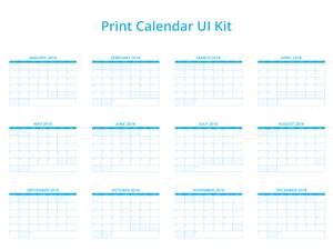 2018 Print Calendar UI Kit Sketch Resource