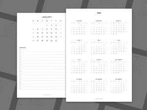 2020 Printable Minimalist Calendar Sketch Resource