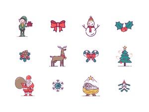 36 Christmas Icons Sketch Resource