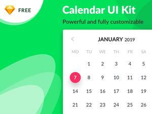 Powerful Calendar UI Kit Sketch Resource