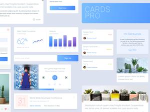 Cards Pro UI Kit Sketch Resource