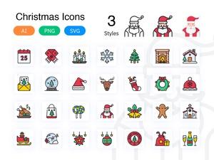 Рождественские значки эскиз ресурсов