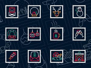 Christmas Stamp Icons Sketch Resource