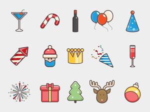 15 Christmas Icons Sketch Resource