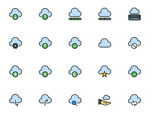 Cloud Service Icons Pack Sketch Resource