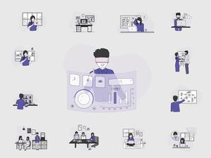 14 Ilustración corporativa Sketch Recurso