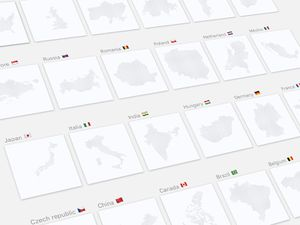 Dotted Maps of 24 Countries Sketch Resource