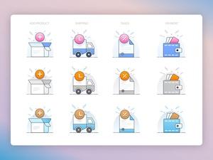 4 ilustraciones de comercio electrónico Sketch Recurso
