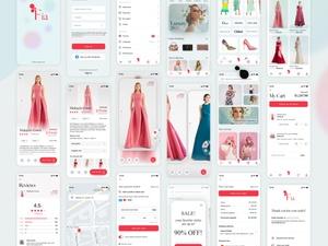 Moda e-commerce ui kit boceto recurso