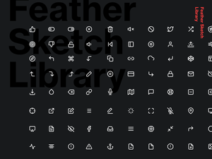 200 Icons - Feather Sketch Library Sketch Resource