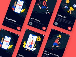 Soccer App Onboarding Screens Sketch Resource