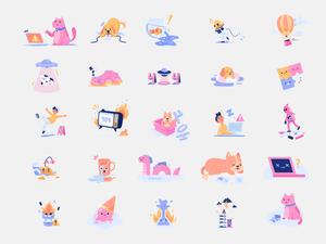 30 ilustraciones de estados de error inteligentes.