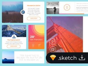 Flat Travel Blog UI Kit