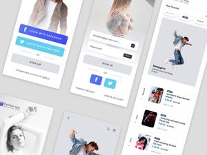 Fashion Shop App UI Sketch Resource
