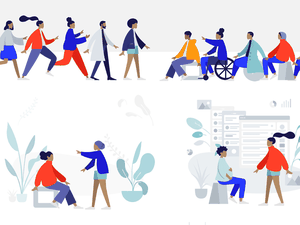 Illustration Library of Diverse People Sketch Resource