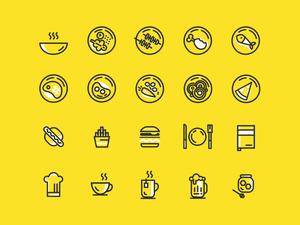Iconos de alimentos mínimos de boceto