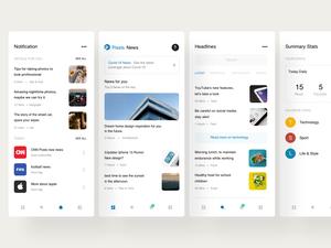 Recurso de boceto de aplicaciones móviles de noticias mínimas