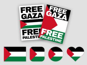 Bandera Palestina y Cartel Sketch Recurso