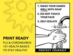 Printable Health Flyer for Flu and Coronavirus Sketch Resource