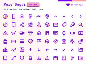 60 Pure Sugar Icons Sketch Resource