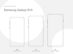 Line Mockups for Samsung Galaxy S10 Sketch Resource