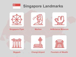 Singapur Landmark Icons Bosquejo Recurso