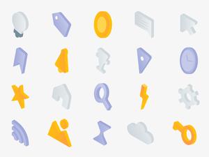 23 Iconos isométricos Bosquejo Recurso